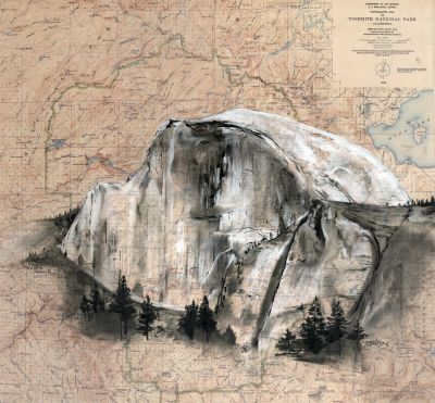 Half Dome, Yosemite on vintage map