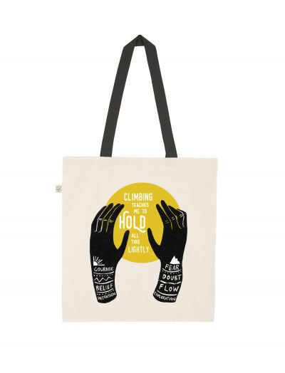 'Climbing teaches me' tote bag